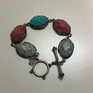 Lucky brand toggle bracelet with stones + feathers